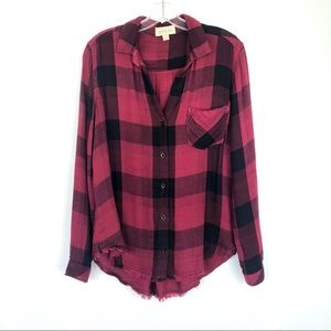 Cloth & Stone | Red Raw Hem Plaid Button Up